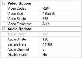 Video settings for iPod Touch