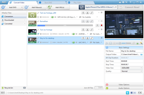 Main Windows of Any Video Converter Pro.