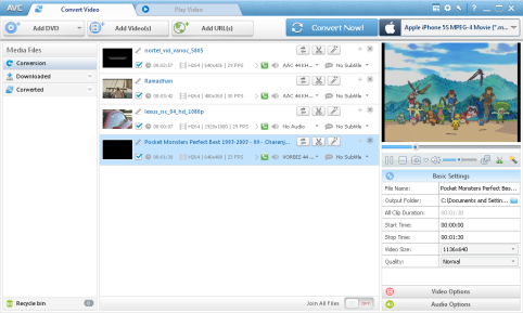 Any Video Converter Pro. Ana Pencereleri